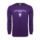 Purple Long Sleeve T Shirt-Arched Northwestern State w/Demon Head