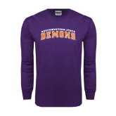 Purple Long Sleeve T Shirt-Arched Northwestern State Demons