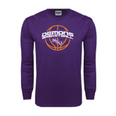 Purple Long Sleeve T Shirt-Demons Basketball Arched