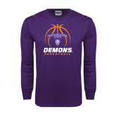 Purple Long Sleeve T Shirt-Demons Basketball Stacked