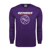 Purple Long Sleeve T Shirt-Demons Volleyball Stacked