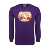 Purple Long Sleeve T Shirt-Womens Basketball Back To Back Champions