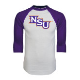 White/Purple Raglan Baseball T Shirt-NSU