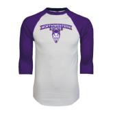 White/Purple Raglan Baseball T Shirt-Arched Northwestern State w/Demon Head