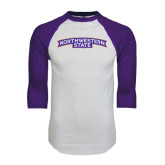 White/Purple Raglan Baseball T Shirt-Arched Northwestern State