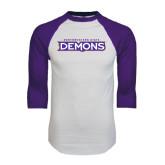 White/Purple Raglan Baseball T Shirt-Northwestern State Demons