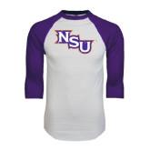 White/Purple Raglan Baseball T Shirt-NSU Distressed