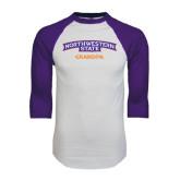 White/Purple Raglan Baseball T Shirt-Grandpa