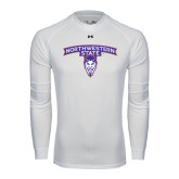 Under Armour White Long Sleeve Tech Tee-Arched Northwestern State w/Demon Head