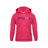 Youth Raspberry Fleece Hoodie-Arched Northwestern State Foil
