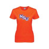 Ladies Orange T Shirt-NSU Distressed