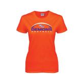 Ladies Orange T Shirt-Demons Football Horizontal