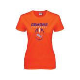 Ladies Orange T Shirt-Demons Football Vertical