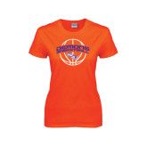 Ladies Orange T Shirt-Demons Basketball Arched