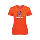 Ladies Orange T Shirt-Demons Basketball Stacked