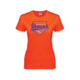 Ladies Orange T Shirt-Demons Baseball Plate Script