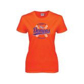 Ladies Orange T Shirt-Demons Softball Seams