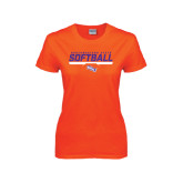 Ladies Orange T Shirt-Softball Stencil w/ Bar