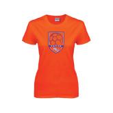 Ladies Orange T Shirt-Soccer Shield