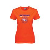 Ladies Orange T Shirt-Demons Volleyball Stacked