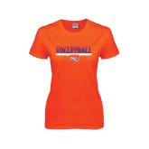 Ladies Orange T Shirt-Volleyball Stencil w/ Bar