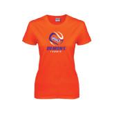 Ladies Orange T Shirt-Tennis Abstract Ball