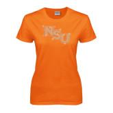Ladies Orange T Shirt-NSU Rhinestones