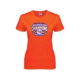 Ladies Orange T Shirt-Womens Basketball Back To Back Champions