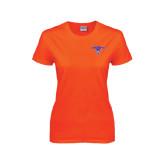 Ladies Orange T Shirt-Arched Northwestern State w/Demon Head