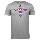 Adidas Climalite Sport Grey Ultimate Performance Tee-Arched Northwestern State w/Demon Head