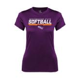 Ladies Syntrel Performance Purple Tee-Softball Stencil w/ Bar