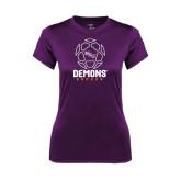 Ladies Syntrel Performance Purple Tee-Demons Soccer Geometric