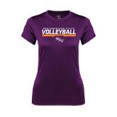 Ladies Syntrel Performance Purple Tee-Volleyball Stencil w/ Bar