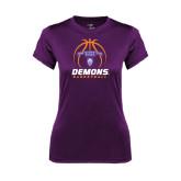 Ladies Syntrel Performance Purple Tee-Demons Basketball Stacked