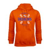 Orange Fleece Hoodie-Demons Baseball Seams