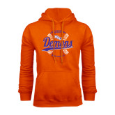 Orange Fleece Hoodie-Demons Softball Seams