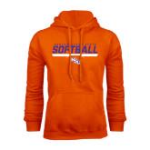 Orange Fleece Hoodie-Softball Stencil w/ Bar