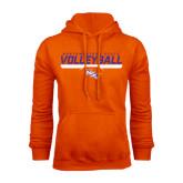 Orange Fleece Hoodie-Volleyball Stencil w/ Bar