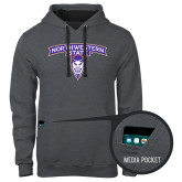Contemporary Sofspun Charcoal Heather Hoodie-Arched Northwestern State w/Demon Head