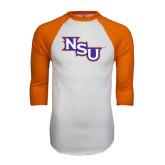 White/Orange Raglan Baseball T Shirt-NSU
