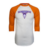 White/Orange Raglan Baseball T Shirt-Arched Northwestern State w/Demon Head