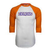 White/Orange Raglan Baseball T Shirt-Northwestern State Demons
