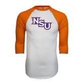 White/Orange Raglan Baseball T Shirt-NSU Distressed