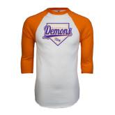 White/Orange Raglan Baseball T Shirt-Demons Baseball Plate Script