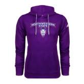 Adidas Climawarm Purple Team Issue Hoodie-Arched Northwestern State w/Demon Head