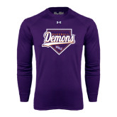 Under Armour Purple Long Sleeve Tech Tee-Demons Baseball Plate Script