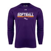 Under Armour Purple Long Sleeve Tech Tee-Softball Stencil w/ Bar