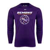 Under Armour Purple Long Sleeve Tech Tee-Demons Volleyball Stacked