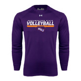 Under Armour Purple Long Sleeve Tech Tee-Volleyball Stencil w/ Bar