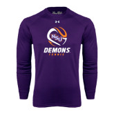 Under Armour Purple Long Sleeve Tech Tee-Tennis Abstract Ball